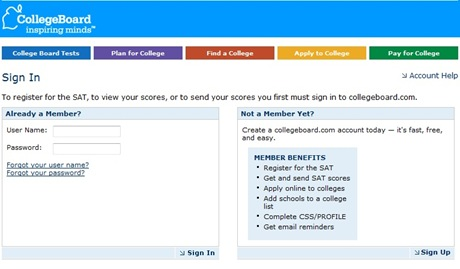 SAT Scores CollegeBoard com check sign-in screencapture pic