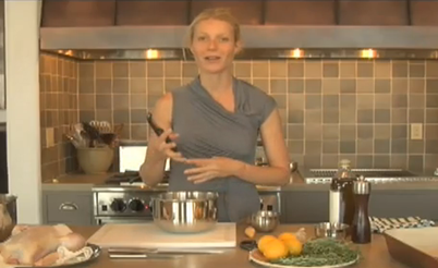 Gwyneth Paltrow Cooking Roasted Chicken and Potatoes