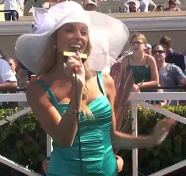 Carrie Prejean, Dethroned Miss California, Sings With Bing at a Del Mar racetrack in California picture