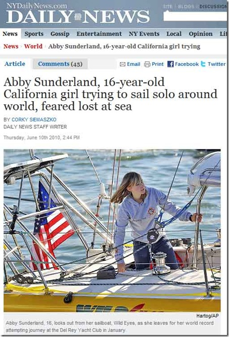 Abby Sunderland Lost In Sea NY Daily News Report