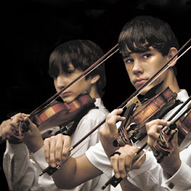 Three Violins by Sharon Isern - People Musicians & Entertainers ( boy musicians, boy violin )
