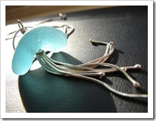 Sea Creature bright aqua sea glass and sterling silver necklace