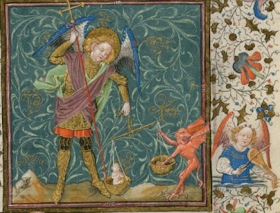 Archangel Michael weighing the souls, from The Book of Hours of Catherine of