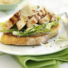Open chicken Caesar sandwich
