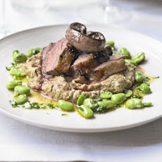 Rump Of Lamb, Kidneys, Shallot Purée & Broad Beans