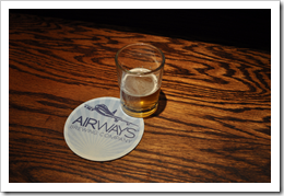 image of Airways Brewing's bartop, coaster, and sample courtesy of our Flickr page