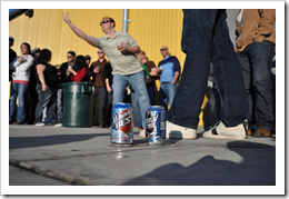 image of a participant of the Bad Beer Can Toss at the Two Beers' fund raiser for Haitian Relief courtesy of our Flickr page