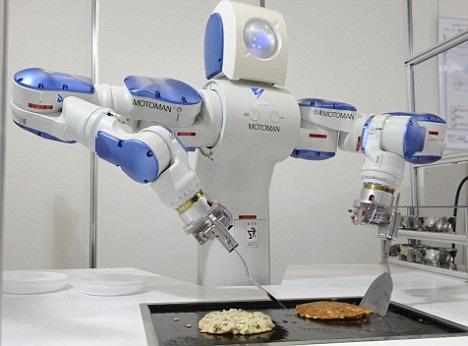 Cooking Robot MOTOMAN Preparing Okonomiyaki (Japanese Flour Cake)