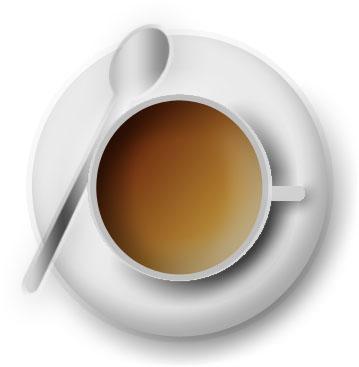 imagen de taza blanca vista desde arriba con cuchara