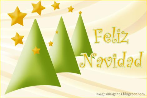 felicitacion postal de navidad con abetos y estrellas