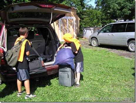 unloading the van