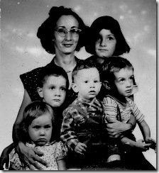 1955 Anne, Nikki, Stephen, Mark, Peter, Pamela Petroff, passport photo