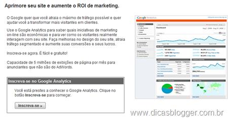 Inscrição no Google Analytics