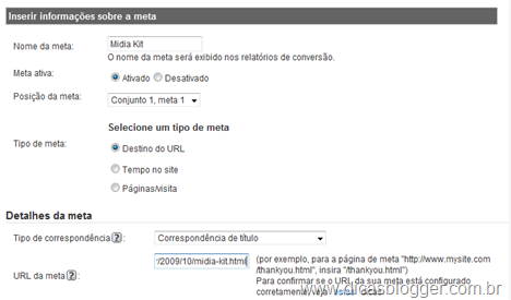 Google Analytics - Metas