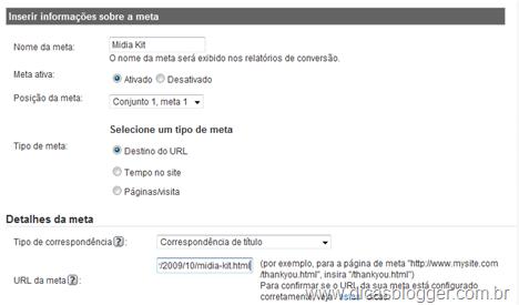 Google Analytics - Metas