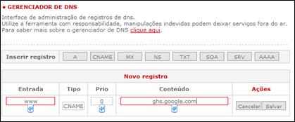 configuração DNS