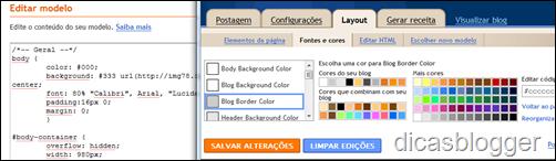 Usando a tabela do Blogger