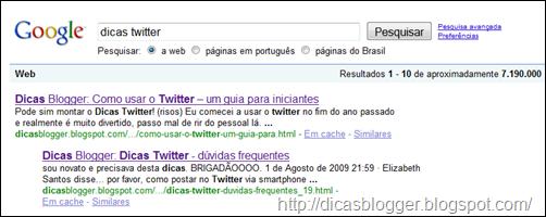 "resultado de ""dicas twitter"" no Google"
