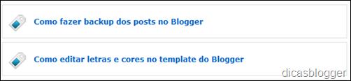mostrando apenas os títulos dos posts