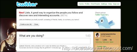 Twitter Lists - mensagem