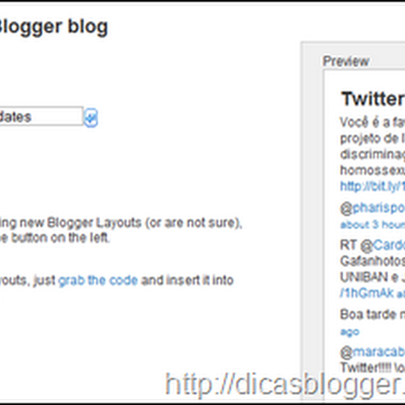 Widgets do Twitter para Blogger