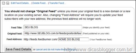 Configuração dos feeds