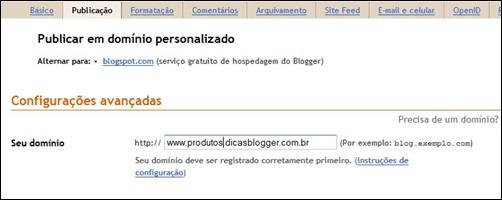 Configurando o subdomínio no Blogger
