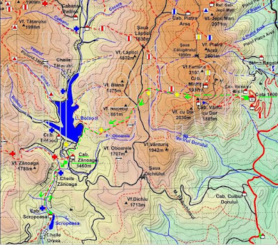 Harta Bucegi: Sinaia-Zanoaga, Cheile Zanoagei Mari