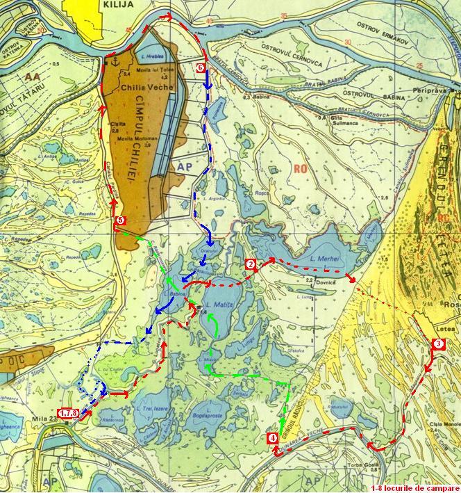 harta Delta Dunarii - intre Bratul Sulina si Bratul Chilia - fragment