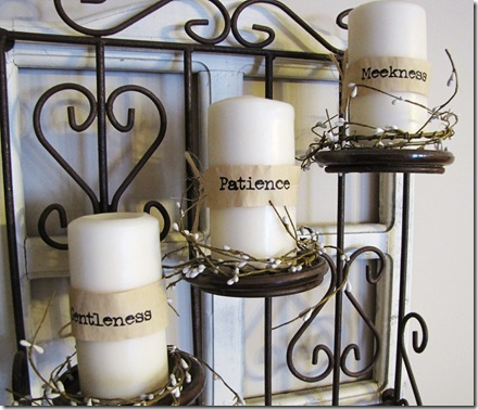 candles with words