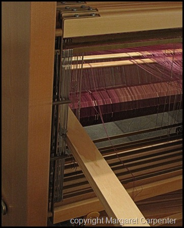 Heddlese at side of loom