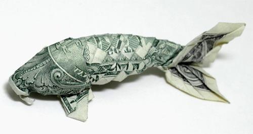 Seni Kertas Origami Dengan Pecahan Uang 1 Dollar