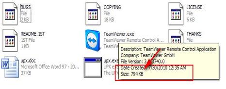 Hasil akhir kompres file exe