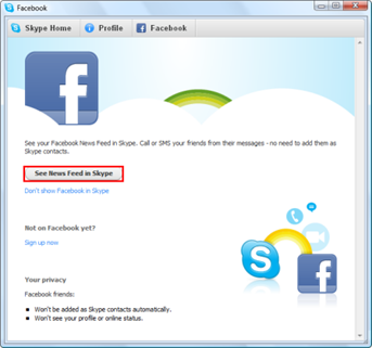 See News Feed in Skype
