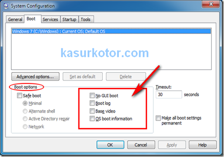 Penjelasan Jenis Pilihan Boot yang ada Di Windows 7, Xp dan Vista