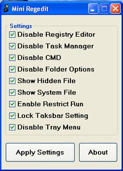 Nonaktifkan dan Aktifkan Fitur Windows dengan Mini Regedit