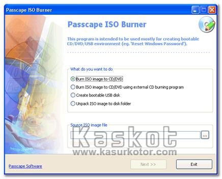 ISO ke CD/DVD atau USB Disk dengan Passcape ISO Burner