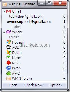Cek email Gmail, Yahoo, Hotmail dengan WebMail Notifier