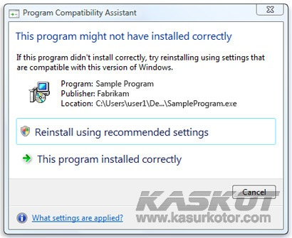 "Mematikan/Menghilangkan Pesan ""This Program Might Not Have Installed Correctly"" di Windows 7"