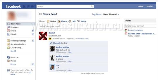 Membuat Status. Percakapan Facebook Palsu