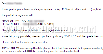 Paragon System Backup Serial Number