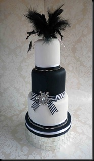 3-tier-White-and-Black-tall-layers-feather-cake