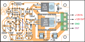 Parts layout of 12 volt speed controller or lamp dimmer