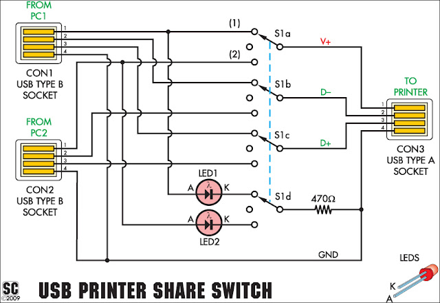 USB Printer Share Switch Circuit Diagram
