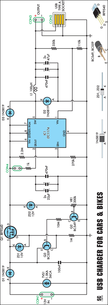 Low-Power Car-Bike USB Charger circuit schematic