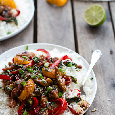 30 Minute Sweet Asian Chili Pork, Ginger and Tangerine Stir Fry