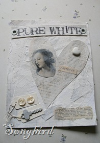 White collage card