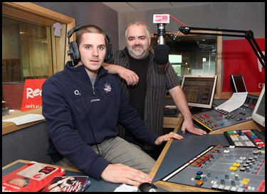 DKane 280610 Repro Free No Charge Daniel Goulding with DJ Victor Barry in the Red FM Studio. Pic Darragh Kane