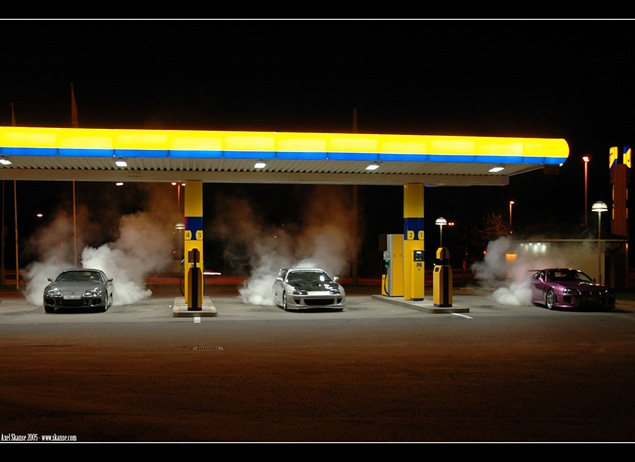 Supra burnout gas station