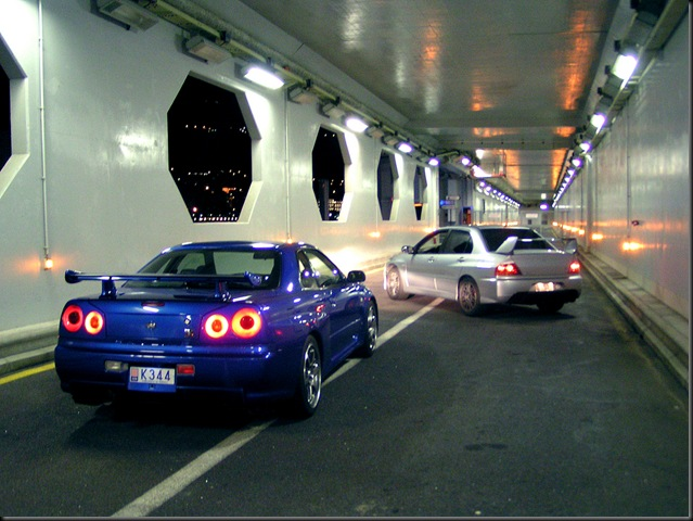 R35 GTR Skyline + EVO IX MR2__